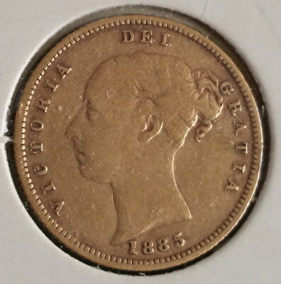 1885 Great Britain Half Sovereign Gold coin Great Gift