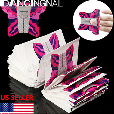 500Pcs Butterfly Nail Art Tips Acrylic UV Gel Extension Form Guide Sticker USA