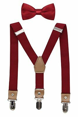 Bioterti Suspenders and Bow Tie For Toddler Kids Boys Adjustable With Strong