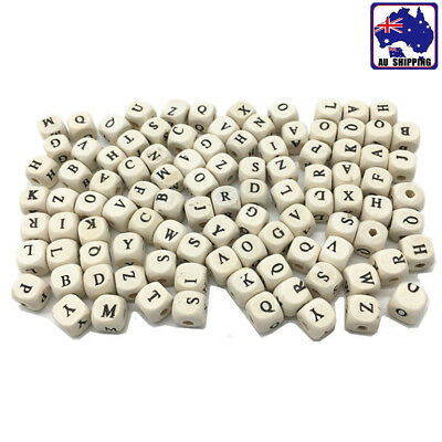 100pcs Natural Mixed Alphabet Letter Cube Square Wood Beads 10mm JBRB98000