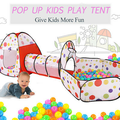AU Kids Toddlers Tunnel Pop Up Play Tent Cubby Playhouse Toy Christmas Gifts