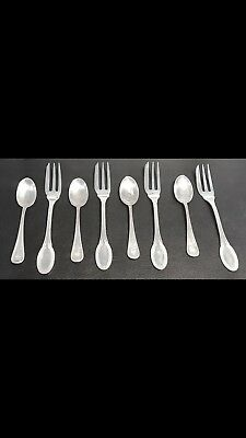 European Continental Solid Silver Spoons And Forks Set , Hallmarked