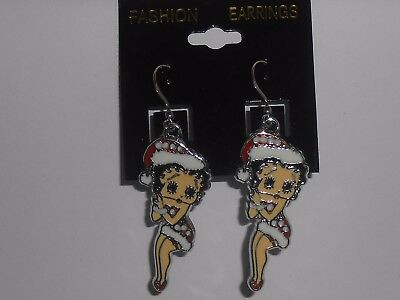 Betty Boop Christmas enamel charm pierced earrings new