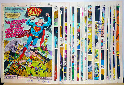 ADVENTURE COMICS # 466 16 Original Hand-Painted JUSTICE SOCIETY COLOR GUIDES 79