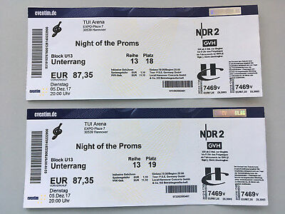 """2 Tickets """"Night of the Proms"""", 05.12.2017 in Hannover"""