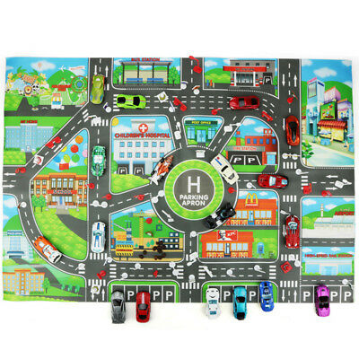 83 * 58 cm Town Road City Parking Cars Map Mat Waterproof  Foldable Children Toy