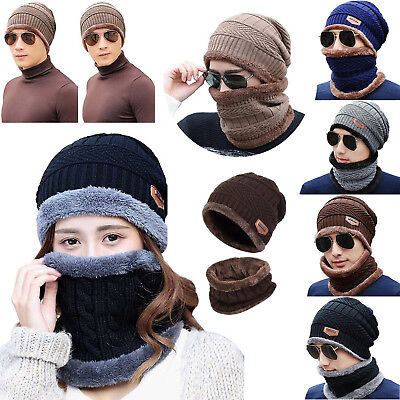 NEW Women Men Winter Warmer Slouchy Beanie Hat Scarf Set Lined Thick Knit Cap