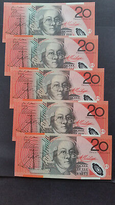 """AUSTRALIA""$20 DollarX5""2013""Stevens/Parkinson"" P59h""Run of 5""GEM UNC""Banknotes"""