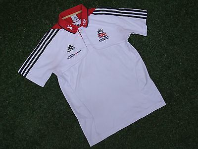 "Team Gb Great Britain Adidas Sky Cycling Team Ss Polo Shirt Shirt Size 34""~36"""