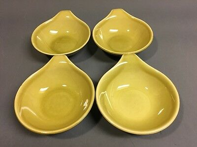 Russel Wright Steubenville American Modern Chartreuse Sm Lug Handled Bowls S/4