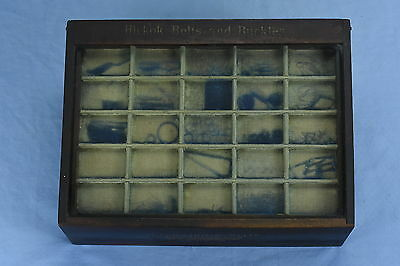 Antique ADVERTISING HICKOK BELT BUCKLES WOOD COUNTERTOP GLASS STORE DISPLAY CASE