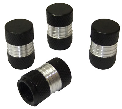 4 x Quality Black Aluminium Knurled Metal Wheel Tyre Valve Dust Caps Cars Bikes