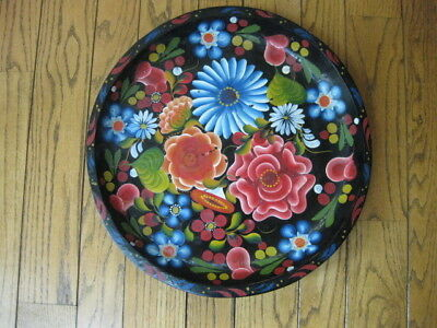 Vintage Large Mexican Folk Art Hand Painted Wood Batea Bowl Platter Mexico 17""