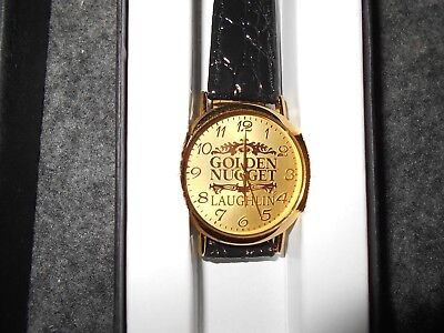 New In Box Golden Nugget Casino Laughlin,nv Wrist Watch With Leather Band