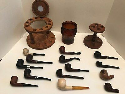 Lot Of 12 Vintage Smoking Pipes-2 Pipe Bowls-Humidor-2 Stands-Estate-Pipes-Wood