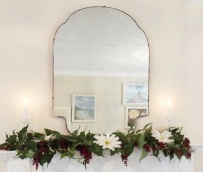 Art Deco Mirror, Frameless Feature Wall Shaped Overmantle Antique Mirror M292