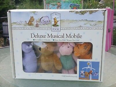 New in box DISNEY WINNIE THE POOH DELUXE MUSICAL MOBILE BABY NURSERY Plush