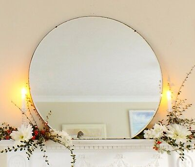 Art Deco Mirror, Frameless Feature Wall Shaped Overmantle Antique Mirror M357