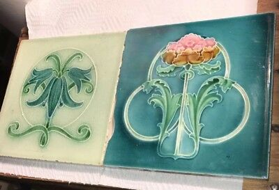Antique  England Art Nouveau Majolica Tile