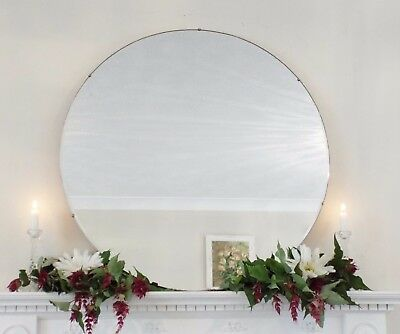 Art Deco Mirror, Frameless Feature Wall Round Overmantle Antique Mirror M258
