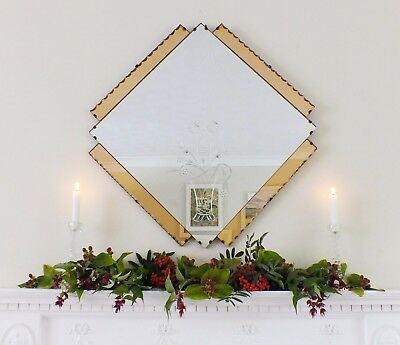 Large Art Deco Feature Wall Mirror Colored Panels, Peach Copper OverMantle M130
