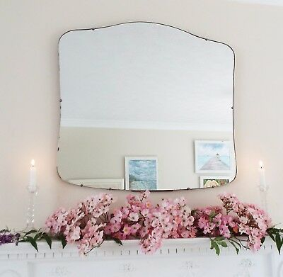 Art Deco Mirror, Frameless Feature Wall Shaped Overmantle Antique Mirror M304