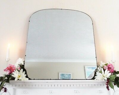 Art Deco Mirror, Frameless Feature Wall Shaped Overmantle Antique Mirror M339