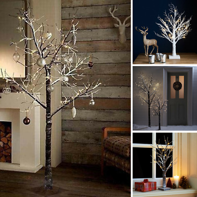 Pre-lit Christmas Twig Tree Led Indoor & Outdoor Rustic Xmas Snowy Decoration