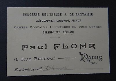 Carte De Visite Paul FLOHR Chromo Menu Postale Calendrier PARIS Visit Card