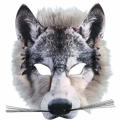 Adults Kids Realistic Fur Wolf Pack Animal Jungle Werewolf Book Week Face Mask