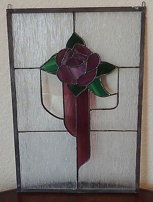 Vtg Architectural Art Deco Stained Glass Window Panel Purple Cross Rose Flower