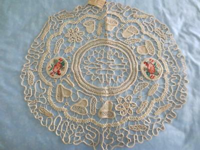 Antique Italian Lace with Needlepoint Inserts with Original Tag