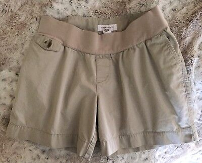 Liz Lange Beige Maternity Shorts With Front/Back Pockets 100% Cotton Size Small