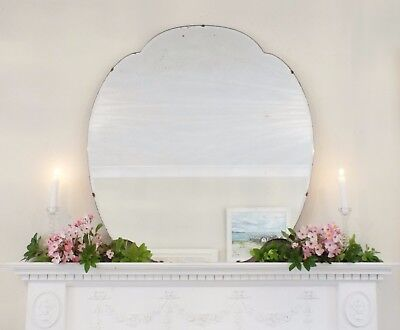 Art Deco Mirror, Frameless Feature Wall Cloud Overmantle Antique Mirror M290