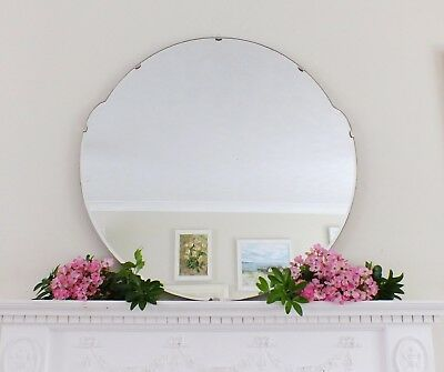 Art Deco Mirror, Frameless Feature Wall Shaped Overmantle Antique Mirror M177