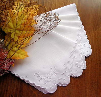 FIVE Antique White Linen Tea Napkins Sweet Madeira Eyelet Hand-Embroidery