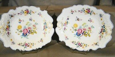 Pair Antique English Rococo Revival Hand Painted Floral Serving Bowls 1820-1830'