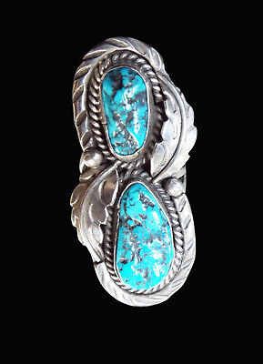 Sterling Long Two Stone Turquoise Ring  - Navajo Handmade