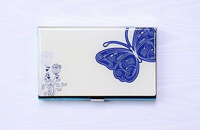 Beautiful Blue Butterfly Stainless Steel Business Card Holder Credit Card Case