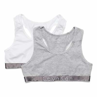 Calvin Klein Girls 2 Pack Custmized Stretch Bralette - White/Grey
