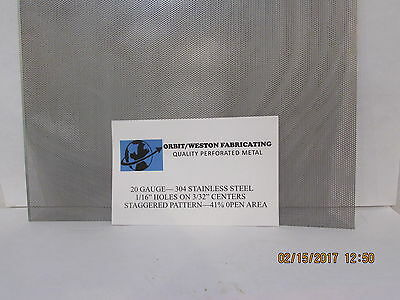 """1/16"""" Holes On 3/32 Centers-20 Gauge- 304 Stainless Perforated Sheet -- 5"""" X 7"""""""