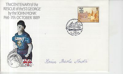 1989 Isle of Man Rescue of St. George Autographed First Day Cover.
