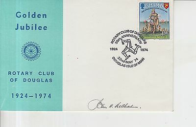 1974 Isle of Man Rotary Club Autographed First Day Cover.