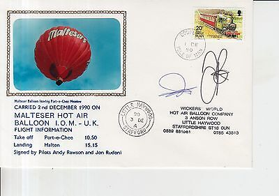 1990 Isle of Man Malteser Hot Air Balloon Autographed First Day Cover.