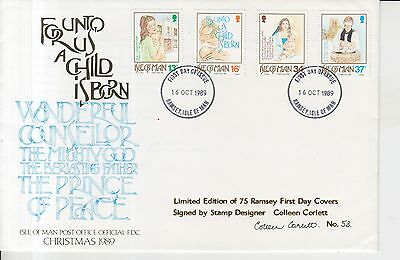 1989 Isle of Man Christmas Autographed First Day Cover.