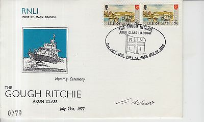 1977 Isle of Man RNLI Gough Ritchie Autographed First Day Cover.