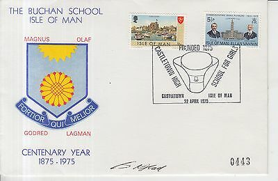 1975 Isle of Man The Buchan School Autographed First Day Cover