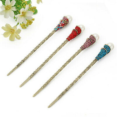 Women Handmade Alloy Pearl Hair Chopsticks Hair Stick Hairpin Chignon Pin Gift