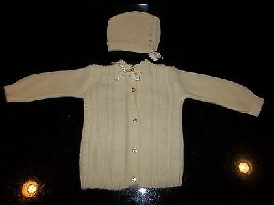 Vintage Girl Newborn Baby Outfit ORLON ACRYLIC 100% DUPONT Sweater With Hat