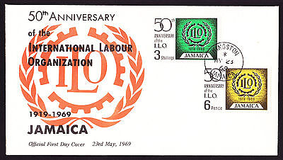 1969 Jamaica First Day FDC Cover 50th Anniv International Labour Organisation